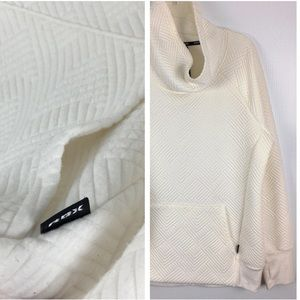 Diamond Quilted Sweatshirt Popover Funnel Hood L